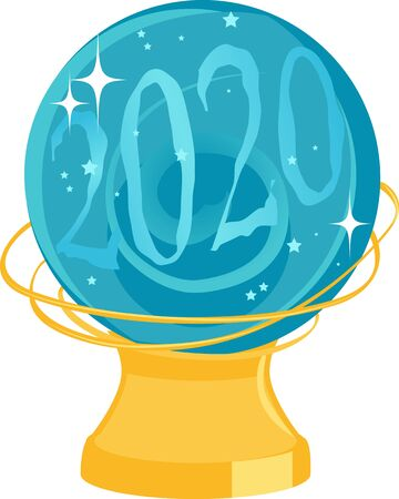 Chrystal ball with a vision of 2020 in it, EPS 8 vector illustration, no transparencies