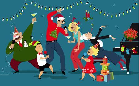 Family singing karaoke, celebrating Christmas and New Year, EPS 8 vector illustration