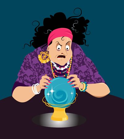 Old gypsy woman fortune teller gazing at a crystal ball predicting menacing future, EPS 8 vector illustration