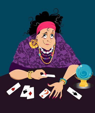 Gypsy fortune teller reading cards, vector illustration