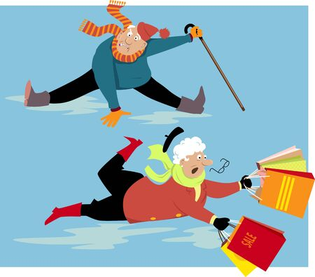 Elderly people slipping and falling on ice,  vector illustration
