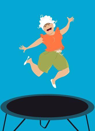 Happy senior woman jumping on a trampoline, EPS 8 vector illustration Çizim