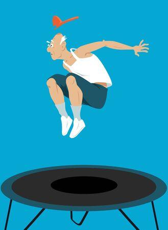 Elderly man jumping on a trampoline, EPS 8 vector illustration