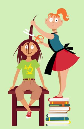 Little girl is giving a haircut to her friend, EPS 8 vector illustration Illustration