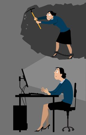 Depressed business woman sitting at her desk imagining herself working in coal mines, EPS 8 vector illustration