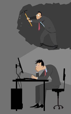 Depressed businessman sitting at his desk imagining himself working in coal mines, EPS 8 vector illustration