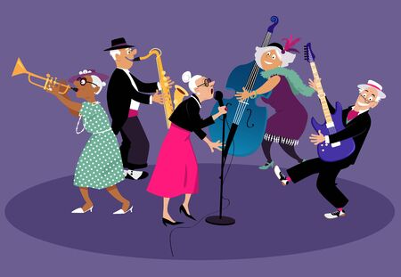 Senior citizens jazz band performing on stage, EPS 8 vector illustration