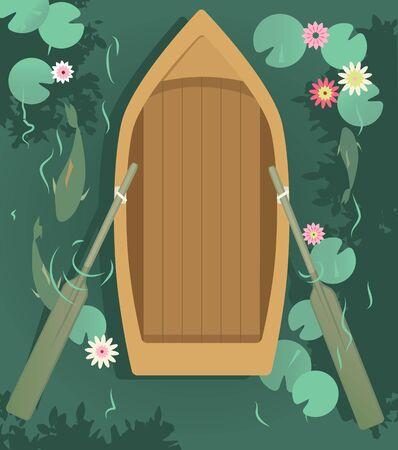 Lege roeiboot in het meer, bedekt met waterlelies, uitzicht vanaf de top, EPS 8 vectorillustratie