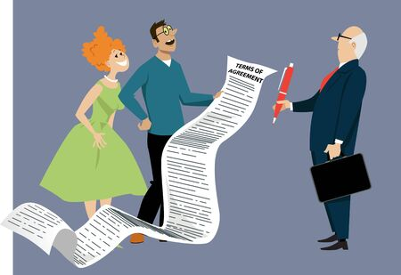 Naive couple is forced to sign a comically long contract agreement,  EPS 8 vector illustration