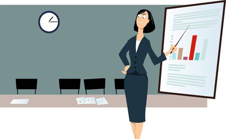 Angry business woman ready to start a presentation, standing in an empty conference room, waiting for tardy colleagues, vector illustration, Illustration