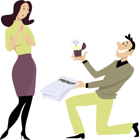 Man kneeling in front of a woman, holding out an engagement ring and prenuptial agreement,  EPS 8 vector illustration Ilustração