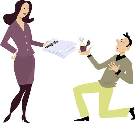 Man kneeling before a woman, holding an engagement ring, she is holding back a prenup, EPS 8 vector illustration
