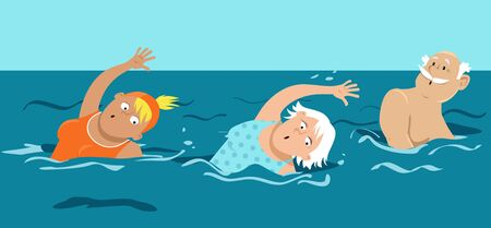 Group of active seniors swimming in a pool, EPS 8 vector illustration