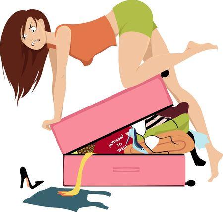 Mujer joven empacando para viajar, intentando cerrar con fuerza una maleta sobrellenada, ilustración vectorial