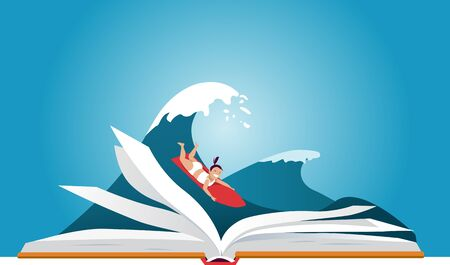 Little girl on a surfboard, riding a wave behind an open book, vector illustration