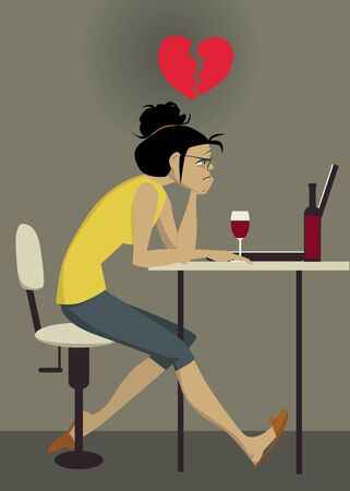 Sad young woman sitting at the computer with wine, a broken heart  over her head, EPS 8 vector illustration