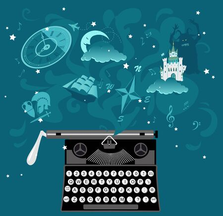 Vintage typewriter with fantastic imaginary behind it representing creative writing process, EPS 8 vector illustration Illustration