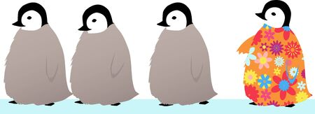 Four baby penguins in a row, the last one is brightly colored and different from his siblings, EPS 8 vector illustration Illustration