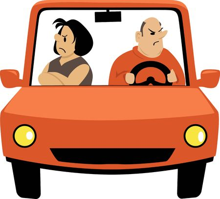 A couple having a fight in a car, EPS 8 vector illustration