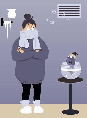 따뜻하게 옷을 입은 여성이 오작동하는 난방 통풍구 아래 추운 집에 서 있고, 눈송이가 나오고, EPS 8 벡터 일러스트레이션