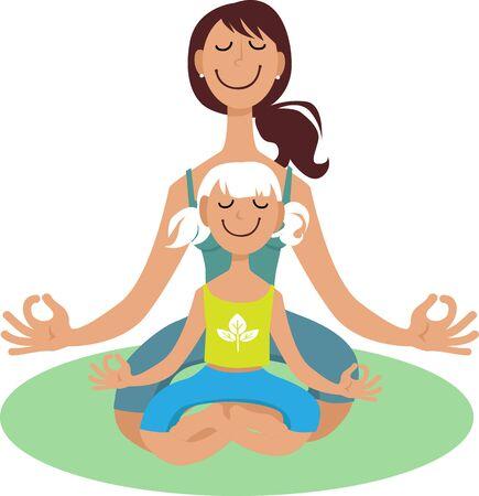 Mother doing yoga exercise together with her little girl, EPS 8 vector illustration Illustration