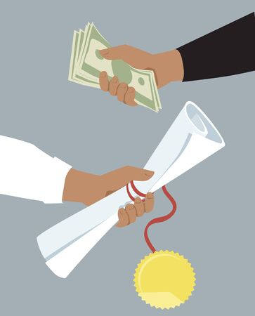 Money offered for a diploma ether as a bribe of a cost of education, vector illustration