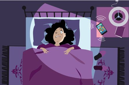 Woman waking up early in the morning from smartphone alarm or ring, vector illustration Illusztráció