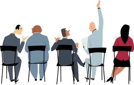 People sitting on a business meeting or presentation, view from the rear, vector illustration