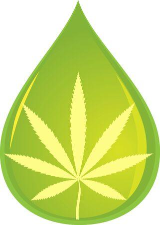Cannabis plant leaf in a drop representing CBD oil, vector illustration, no transparencies