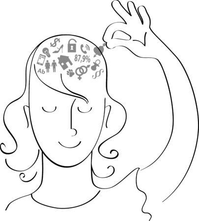 Femme enlevant les symboles de ses soucis hors de sa tête, illustration vectorielle Vecteurs