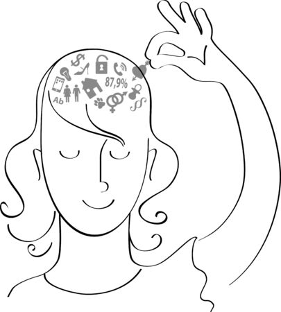 Woman removing symbols of her worries out of her head, vector illustration Ilustração