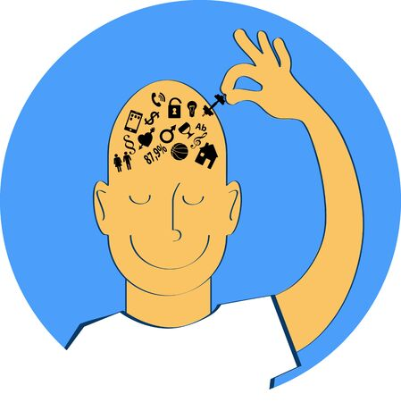 Man taking out of his brain symbols of his worries, decluttering his mind, vector illustration