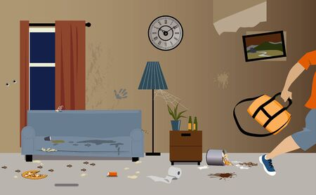 Young male tenants moving out of apartment, leaving it dirty and messy, vector illustration Illustration