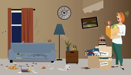 Young woman moving into a rental apartment, finding it dirty, vector illustration