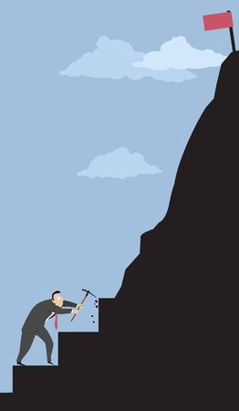 Businessman making steps in a mountain representing a big complex goal, vector illustration