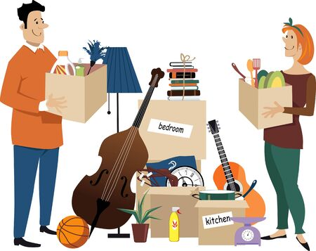 Young couple moving in together, standing near boxes of their belongings, vector illustration
