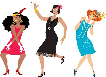 Three cartoon young women in flappers costumes, vector illustration Illustration