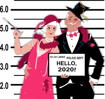 Senior couple dressed in 1920s fashion stands for a mug shot at the police station, holding Hello 2020 tablet, vector illustration