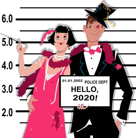 Young inebriated couple dressed in 1920s fashion stands for a mug shot at the police station, holding Hello 2020 tablet, vector illustration Illustration