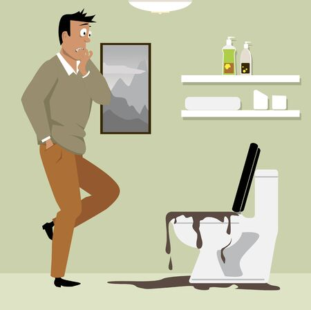 Horrified homeowner looking at a clogged toilet in his bathroom, vector illustration
