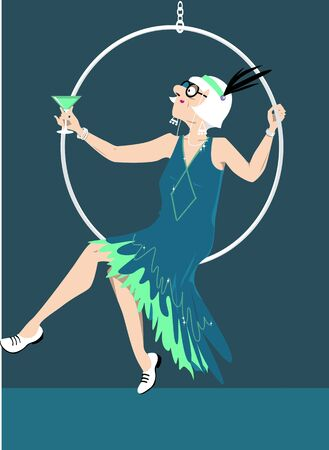 Elderly woman in a flapper outfit with a cocktail sitting in a hoop on stage, vector illustration