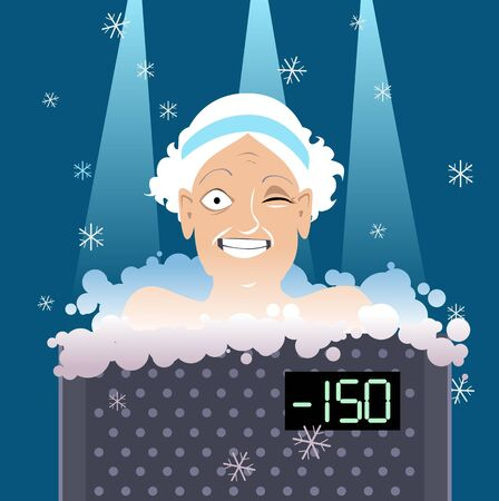 Senior woman undergoing a whole body cryotherapy treatment in a cryosauna, vector illustration, no transparencies