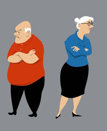 Senior couple fighting, vector illustration