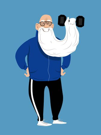 Elderly man pushing a dumbbell with his long beard, vector illustration