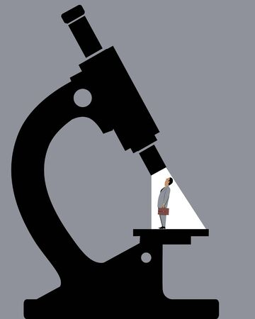 Tiny businessman standing under a microscope, vector illustration Illustration