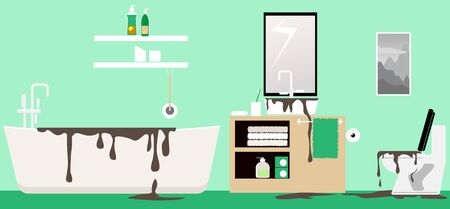 Dirty water backing up in a bathroom after a septic tank fail or a clog, vector illustration