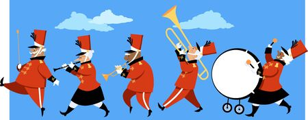 Senior citizens playing instruments in a marching band parade, vector illustration Illusztráció