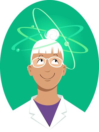 Young woman scientist in a white lab coat with elemental particles spinning around her head, vector illustration