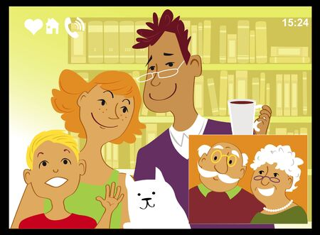 Family talking with grandparents via video chat on a computer screen, vector illustration  イラスト・ベクター素材