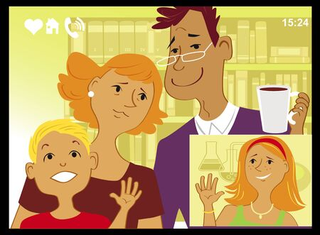 Family talking with a daughter left for college via video chat on a computer screen, vector illustration